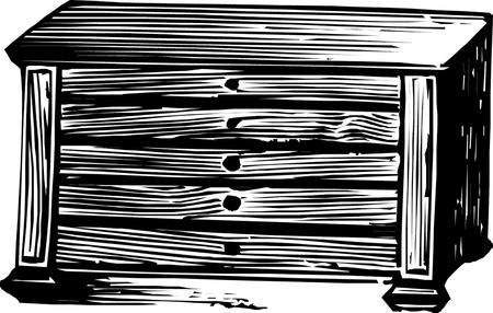 ladenkast: Oud dressoir nachtkastje Stock Illustratie