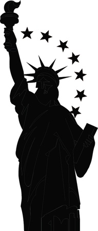 new york skyline: black silhouette of the Statue of Liberty Illustration