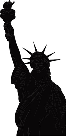 black silhouette of the Statue of Liberty Imagens - 22080800