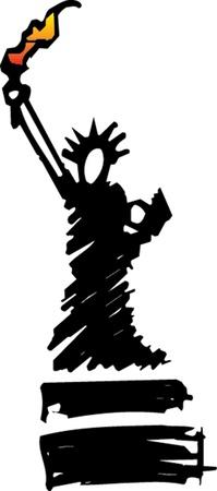 replica: Hand drawn Statue of liberty in New York