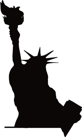 black silhouette of the Statue of Liberty Imagens - 22080961