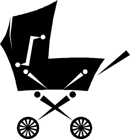 pram - baby carriage silhouette Vector