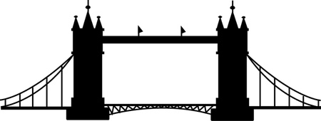 Bridge tower silhouette  Vector illustration Illustration