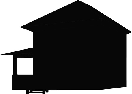 mansard: house silhouette Illustration