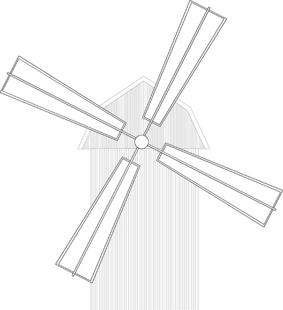 Illustration of the mill or windmill Vector