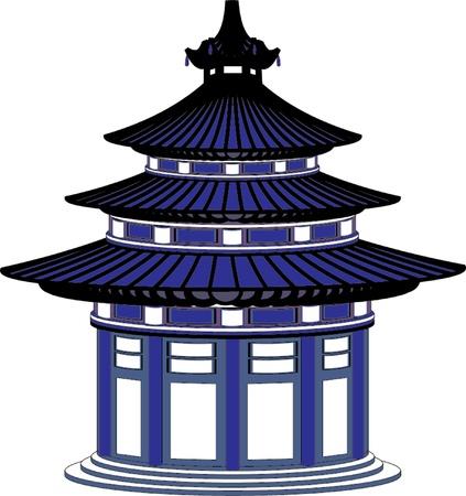 japanese garden: japanese temple Illustration
