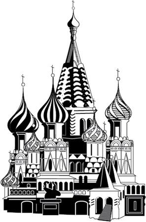 slavic: saint basil cathedral illustration