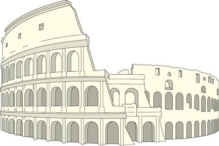 図面のコロッセオ、ローマ、イタリア。ベクトル イラスト  イラスト・ベクター素材