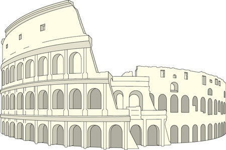 Drawing Colosseum, Rome, Italy. Vector illustration Illustration