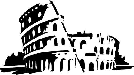 Romeinse Colosseum silhouette Stock Illustratie