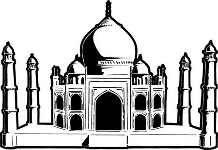 mahal: Taj-mahal temple silhouette