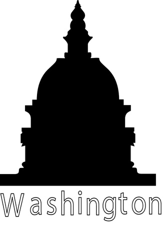 Illustration of the U S  Capitol, Washington D C   silhouette Illustration