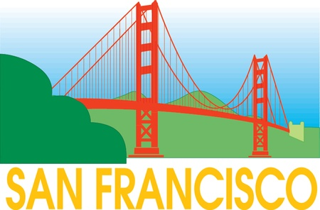 골든 게이트 브리지, 샌프란시스코, 미국 일러스트
