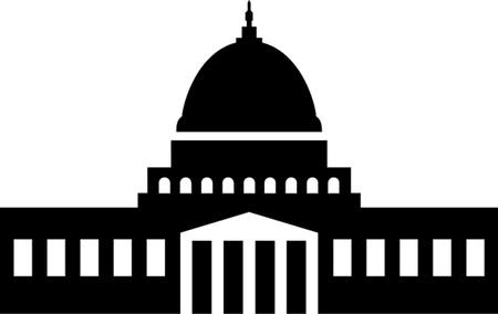 Illustratie van het Capitool, Washington DC silhouet Stock Illustratie