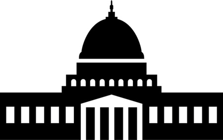 Illustration of the U S  Capitol, Washington D C   silhouette Иллюстрация