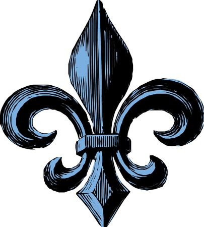 cross hatched: Fleur De Lys Illustration