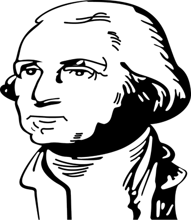Black and white vector illustration of George Washington  Stock Vector - 22207991