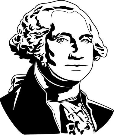 ジョージ ・ ワシントンの黒と白のベクトル イラスト