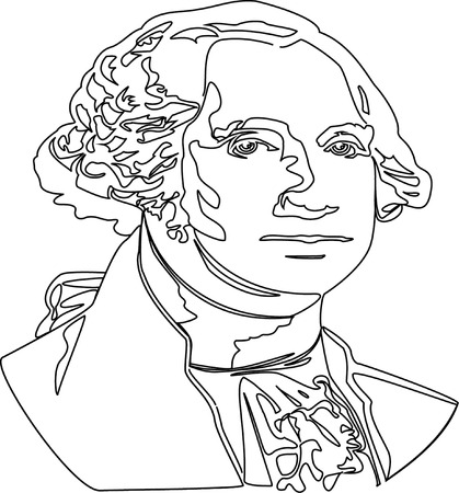 george washington: Black and white vector illustration of George Washington  Illustration