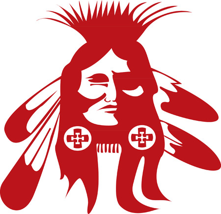 indian tribal headdress: Native American Head  Illustration