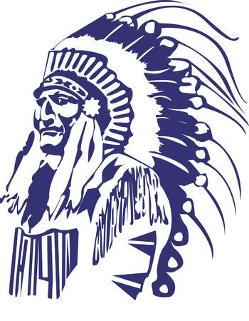 native indian: Jefe del nativo americano Vectores