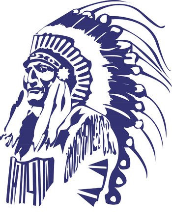 Native American Head  Иллюстрация