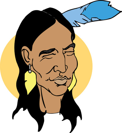 Native American Head  Vector