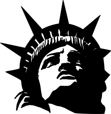 famous statues: Statue of liberty fragment illustration