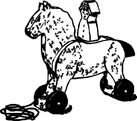 schommelpaard: hobbelpaard illustratie op een witte achtergrond