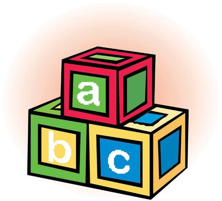 alphabet cubes with letters A,B,C  Ilustração