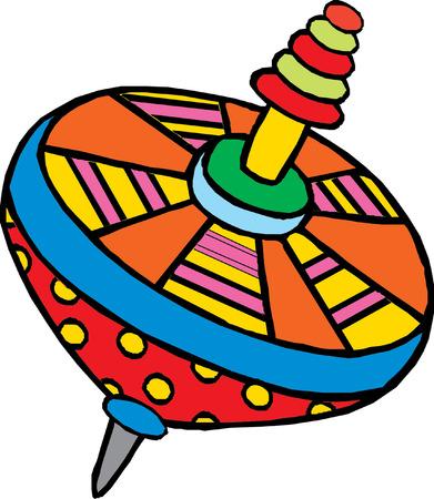 Humming-top, whirligig - vector illustration   Ilustração