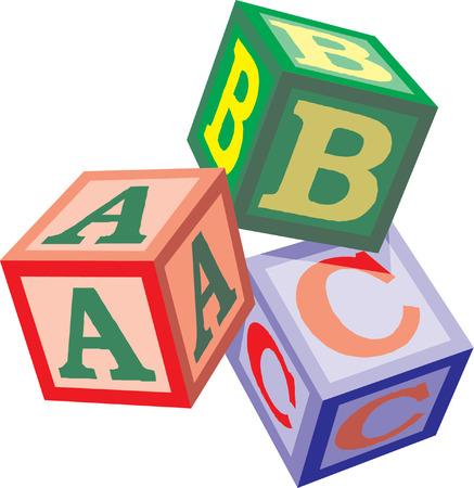 alphabet cubes with letters A,B,C  Illustration