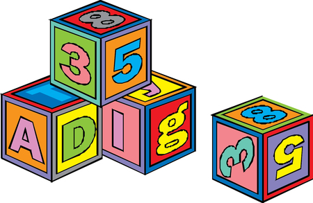 alphabet on a cubes with letters and numbers