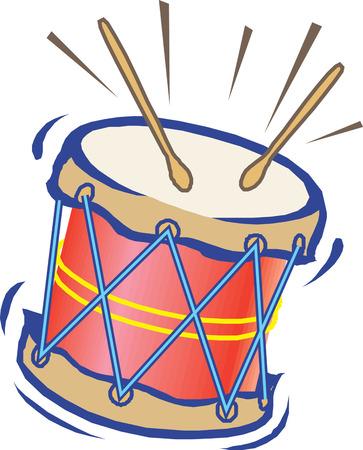 白地に大きなおもちゃのドラムのイラスト  イラスト・ベクター素材