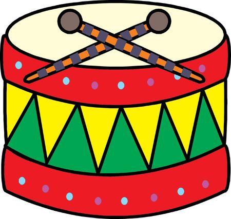 Illustration of a big toy drum on a white background  Ilustração