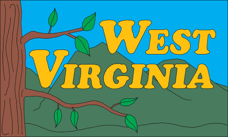 West Virginia USA State Illustration