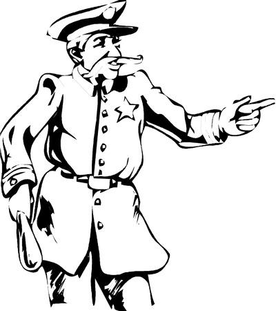 truncheon: Policeman  on white background