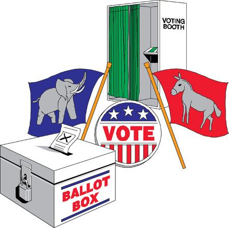 voting box: scheda di voto simbolo di dialogo Vettoriali