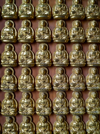 lengnoeiyi: A thousand of small golden Buddha statue on the wall is express of high faith to the Buddhism at Lengnoeiyi temple
