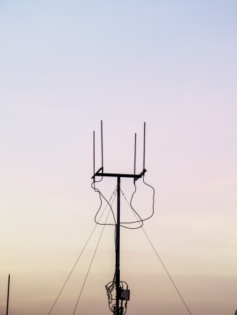 black antenna at the sunset time photo