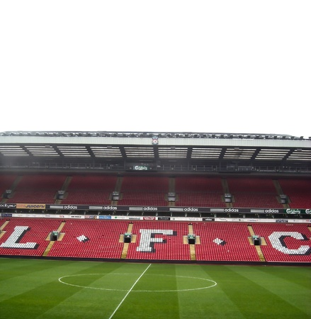 liverpool: Anfield is a Home stadium of Liverpool Football Club in Premier League England at Liverpool, England