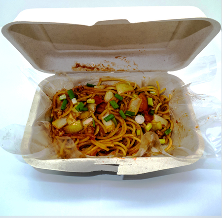 biodegradable material: Spaghetti with Tomato Sauce in a Bagasse Box made from 100% plant fiber, made from 100% biodegradable and  compostable. bagasse which is plant material after extraction of juice from  sugarcane. Microwave and freezer safe, good for both hot and cold item,