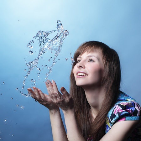 girl with water splash