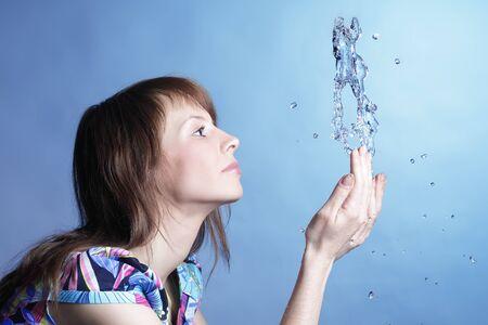 girl with water splash photo