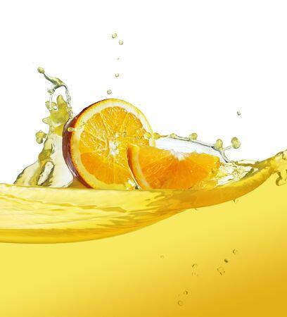 orange slice in juice stream Stock Photo - 9776450
