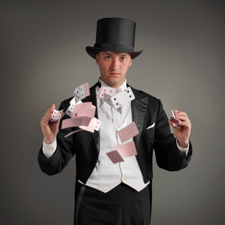 wizardry: magician make card trick Editorial
