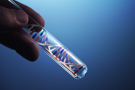 test pattern: dna molecule in test tube