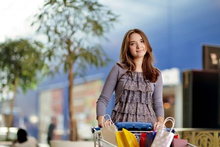 beauty girl with shopping bag Stock Photo - 10113766