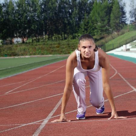 beauty girl run stadium photo