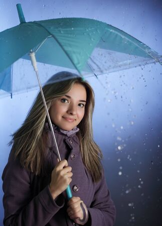 beauty gir with umbrella photo